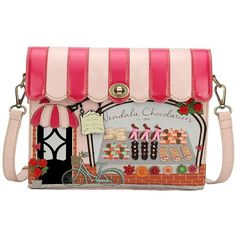 Vendula London Women Designer Handbags Chocolatier Crossbody Box Bag ($190) ❤ liked on Polyvore featuring bags, handbags, shoulder bags, shoulder handbags, purse cross body, purse crossbody, handbags cross body and handbag purse