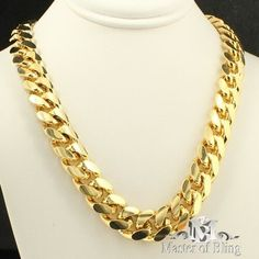 Mens Yellow Gold Finish 10mm Thick 30 inch Necklace Rapper Chain Cuban Link XL | eBay