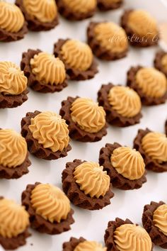 Brittle cocoa cupcakes with caramel cream Chocolate Cupcakes, Mini Cupcakes, Pastry Recipes, Creme, Delicious Desserts, Biscuits, Pasta, Cookies, Sweet