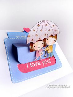 Hidden Message by cathy.fong, via Flickr...slider card with two kids under an umbrella open...