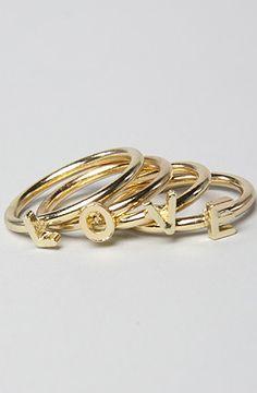 LOVE stacking rings