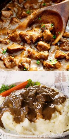 """Ridiculously tender, Homemade Slow Cooker Beef Tips and Gravy (without any """"cream of"""" anything!) is richly satisfying, comforting and flavorful and the perfect make ahead meal for busy weeknights! Beef Tip Recipes, Soup Recipes, Cooking Recipes, Recipes With Beef Cubes, Steak Pieces Recipes, Recipes With Beef Tips, Recipes With Round Steak, Recipes With Beef Stew Meat, Stew Beef And Rice"""