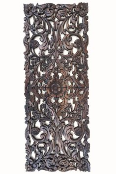 Thai Wooden Wall Panel Wall Hanging Floral Wood Carved Wall