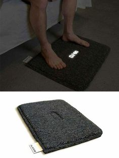 Bedside Rug alarm clock, it will stop only if you step on it! I need this!