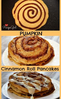 Decadent treat for Thanksgiving morning... or the morning after! - Pumpkin- Cinnamon Roll Pancakes. Thanksgiving pumpkin recipes