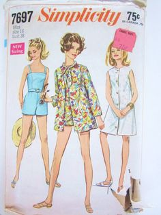 Simplicity Pattern 7697 Misses Sleeveless Coat-Dress or Beach-Jacket and Bathing-Suit/Romper with panties for bathing suit  Size: 16 Bust 38 Hips 40  copyright 1961  Condition: Cut and complete, envelope in poor condition  More questions or photos needed? Just email.  All patterns that I sell are pre-owned. The envelopes will have wear - bumped corners, tears, possibly writing. If you are in need of specific information about this envelope please email me…