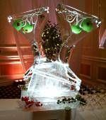 Dual Martini glass Ice sculpture luges Andrea Latham, Ice Art