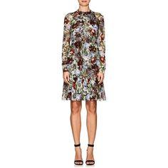 Erdem Women's Devika Floral Silk Tunic Dress ($1,510) ❤ liked on Polyvore featuring dresses, multi, white long sleeve dress, flower print dress, long sleeve dress, long sleeve ruched dress and white floral dress