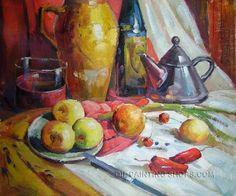 """Enchanting Still-Life Fruit Oil Painting Bottle Bowl Bottle Plate, Size: 24"""" x 20"""", $83. Url: http://www.oilpaintingshops.com/enchanting-still-life-fruit-oil-painting-bottle-bowl-bottle-plate-0503.html"""