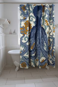 @11Main Octopus Vineyard Shower Curtain: The hand sewn Thomas Paul Octopus Vineyard shower curtain features hand screened print...