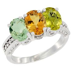10K White Gold Natural Green Amethyst, Citrine and Lemon Quartz Ring 3-Stone Oval 7x5 mm Diamond Accent, sizes 5 - 10 * Trust me, this is great! Click the image. : Jewelry Ring Bands