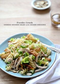 Chinese Chicken Salad with Sesame Dressing from foodiecrush.com