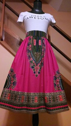 Pink Dashiki Felicity Skirt African Print by TheSewinista on Etsy, $65.00