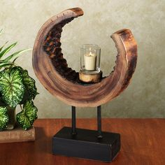 Stratum Tree Trunk Crescent Candleholder Love this - make one from a tree in VT