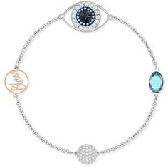 """Swarovski Two-Tone Pave Evil Eye \""""Bless\"""" Link Bracelet ($79) ❤ liked on Polyvore featuring jewelry, bracelets, silver, swarovski bangle, evil eye jewelry, evil eye bangle, swarovski jewellery and swarovski jewelry"""