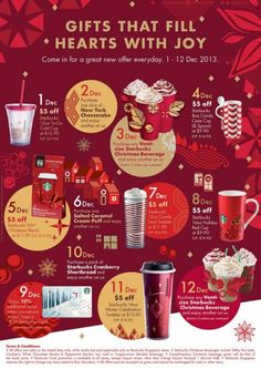 Starbucks Christmas 12 Days Of Gifting Everyday Offers Discounts On Beverages, Tumblers & Coffee in storewide sales food beverage Starbucks Christmas, Christmas Store, Christmas Design, Starbucks Black Friday, Merry Christmas, Food Poster Design, Food Design, Christmas Newsletter, Christmas Campaign