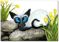Siamese Cat Rocks in the Tulip Garden ArT - Art Prints or ACEOs by Bihrle ck426
