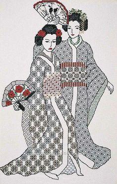 blackwork patterns | Geishas Blackwork Chart - Sew and So