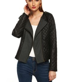 Autumn jacket with decentralized zip - Ahodress