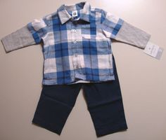 NWT Carter's Boys 2 Pcs Set Layered Flannel Plaid Look with Pants Sizes 3M - 9M Buy It At: http://stores.ebay.com/Bumblebee-Boutique99