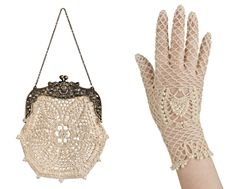 vintage inspired lady look bridal gloves and purse