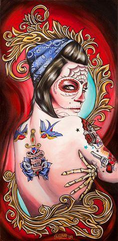 art, caveira, gustavo rimada, make up, mexico, muertos