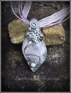 Rose Quartz, Amethyst and Mother of Pearl Pendant £24.00