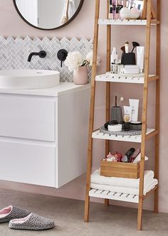 Dorm Room Storage You Need This Semester is part of Bathroom storage shelves You need to look into these dorm room storage strategies in order to prepare your dorm rooms for the upcoming university - Bathroom Storage Solutions, Bathroom Storage Shelves, Bathroom Organisation, Toiletry Organization, Ladder Storage, Toilet Storage, Storage Ideas, Kmart Bathroom, Bathroom Ideas