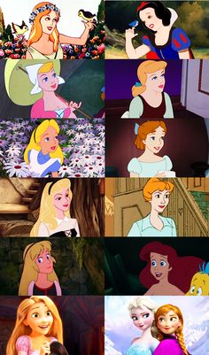 This is a graphic showing similar art styles during certain periods in Disney animation history. It shows that although Rapunzel and Anna do look a lot alike, people shouldn't worry that ALL of the future heroines will look the same way-the animators will likely change it up soon.
