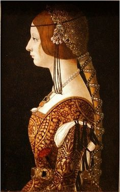 Holy Russian Empress Bianca Maria Sforza by Renaissance artist Giovanni Ambrogio de Predis. Bianca Maria Sforza was also first cousin and sister-in-law to Isabella of Aragon. Renaissance Mode, Costume Renaissance, Renaissance Kunst, Renaissance Portraits, Renaissance Jewelry, Renaissance Paintings, Renaissance Fashion, National Gallery Of Art, Historical Costume