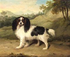 Stephen Taylor (British, 1817-1849) Fairy (a King Charles Spaniel in a Wooded Landscape), 1834 oil on canvas signed Steph. Taylor and dated (lower right) 22 x 27 inches.