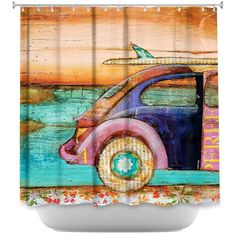 Shower Curtain-Add a splash of decorative color to your bathroom with unique and artistic bathroom accessories from DiaNoche Designs.   Your new designer bathroom will be the envy of all of your friends!   All products are printed with one image on it to cover the entire product.   Each item is soft and durable, coupled with our Dye Sublimation printing which adheres the ink to each piece to prevent fading for many years to come.   Wash all your items upon arrival for maximum softness.