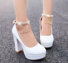 Sum All Chic, Shop White Round Toe Chunky Rhinestone Buckle Tassel Sweet High-Heeled Shoes online. High Heels Boots, Lace Up Heels, Pumps Heels, Shoe Boots, Cute High Heels, Fancy Shoes, Pretty Shoes, Flat Shoes, Women's Shoes