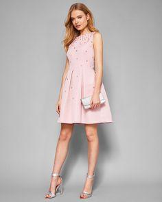 MILLIEAPearl embellished skater dress#TedToToe