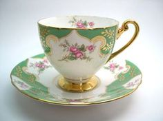 Rare SHELLEY Tea Cup And Saucer Green White by AntiqueAndCrafts