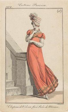 Costume Parisien, Chapeau de velours frisé et robe de mérinos, 1812