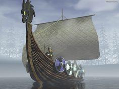 Free 3D Wallpaper 'Viking Ship' 1600x1200
