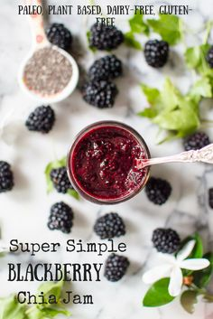 This healthy homemade jam is super simple to make and is low in sugar! Perfect for a cleaning eating breakfast! Paleo, plant based, gluten-free, dairy-free