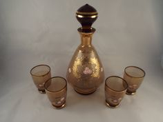 Smokey Brown Decanter with Stopper and Matching 4 by burnedbunny