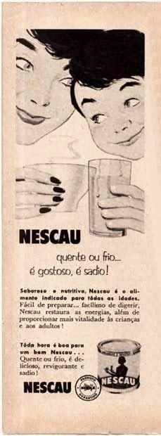Propaganda do Nescau em 1952  indicação para consumo da bebida de forma  quente ou fria eac97824370
