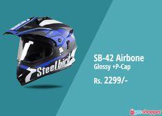 #helmet SB-42 Airbone Glossy White & Blue +P-Cap #Helmetsafety order now from www.yooshopper.com