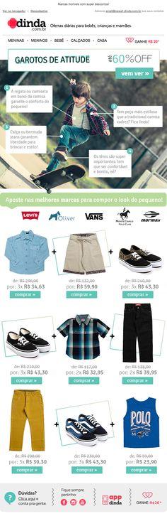 Desenvolvimento de e-mail desde o conceito para a base compradora de roupas masculinas kids.