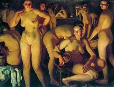 1913. Баня - Bathing - Wikipedia Russian Painting, Russian Art, Figure Painting, Mary Cassatt, Franz Marc, Painter Artist, Oil Painting Reproductions, Online Painting, Erotic Art