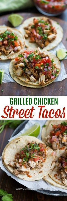 Splendid My family goes crazy for these grilled chicken street tacos, and I love how EASY they are to make! Marinated chicken thighs are grilled to perfection and served with warmed corn tortilla ..