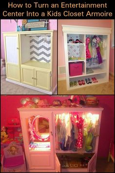 a nice idea for the kids - an old entertainment center turned into a dress up closet!Here's a nice idea for the kids - an old entertainment center turned into a dress up closet! Diy Kids Furniture, Repurposed Furniture, Furniture Makeover, Bedroom Furniture, Antique Furniture, Timber Furniture, Furniture Stores, Dresser Repurposed, Furniture Nyc