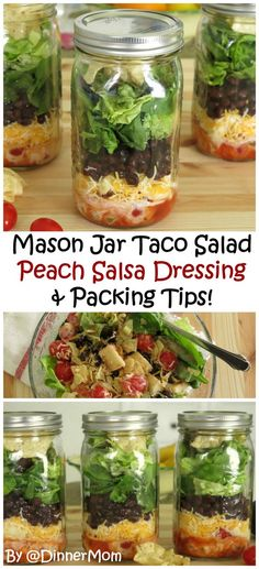 Layered Taco Salad with Peach Salsa Dressing. Pack it in mason jars for no-fuss lunches or dinners. Packing tips for any type of salad!