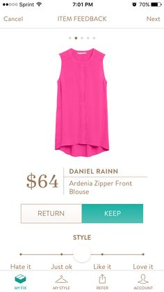 Daniel Rainn Ardenia Zipper Front Blouse. I like the pink, but if it comes in a different color I'd probably prefer that. Love the front zipper detail!