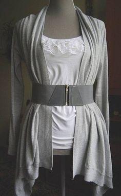 DIY Simple Shirt Décor.  Love the high-waisted oversized belt!