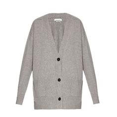 Isabel Marant Étoile Marius knit cardigan ($285) ❤ liked on Polyvore featuring tops, cardigans, light grey, boyfriend cardigan, light grey cardigan, loose tops, loose fit tops and low top