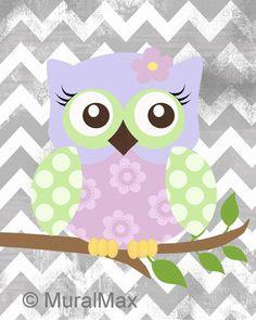 Pépinière Art Owl imprimer sticker, filles chouette pépinière Art bois terre animaux 8 « x 10 » imprimer bébé filles chambre Decor Chevron imprimer